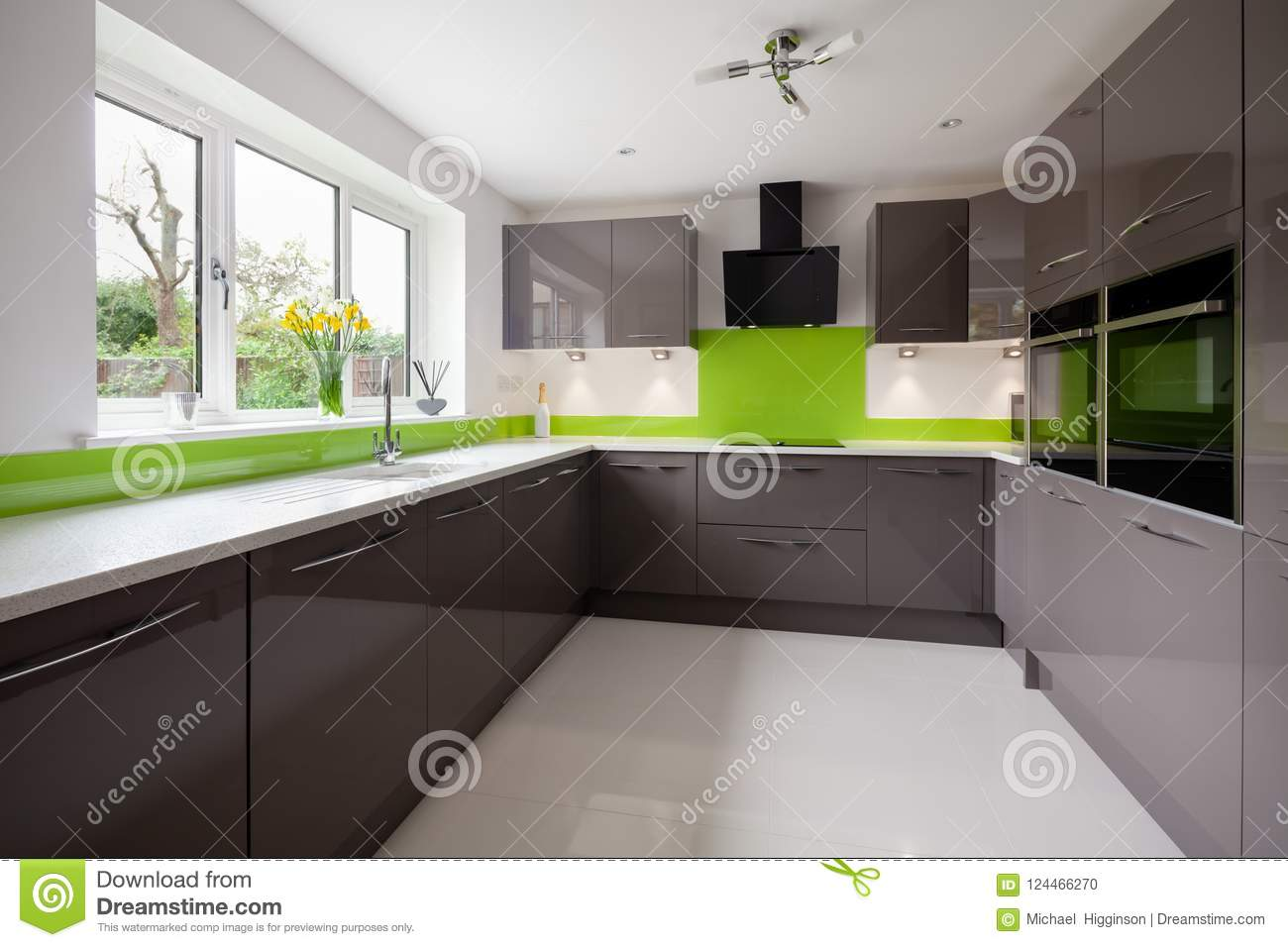 Modern Green And Grey Kitchen Stock Photo Image Of