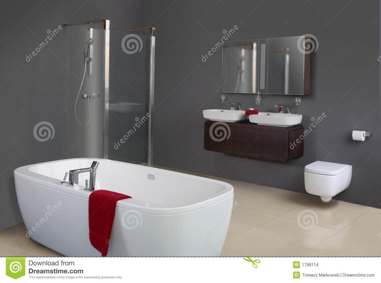 Modern Grey Bathroom stock photo Image of faucets