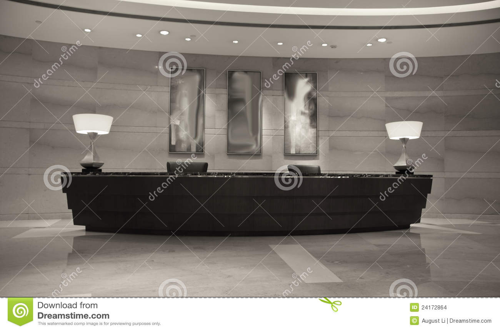 Modern Hotel Reception Desk Stock Photo  Image of check