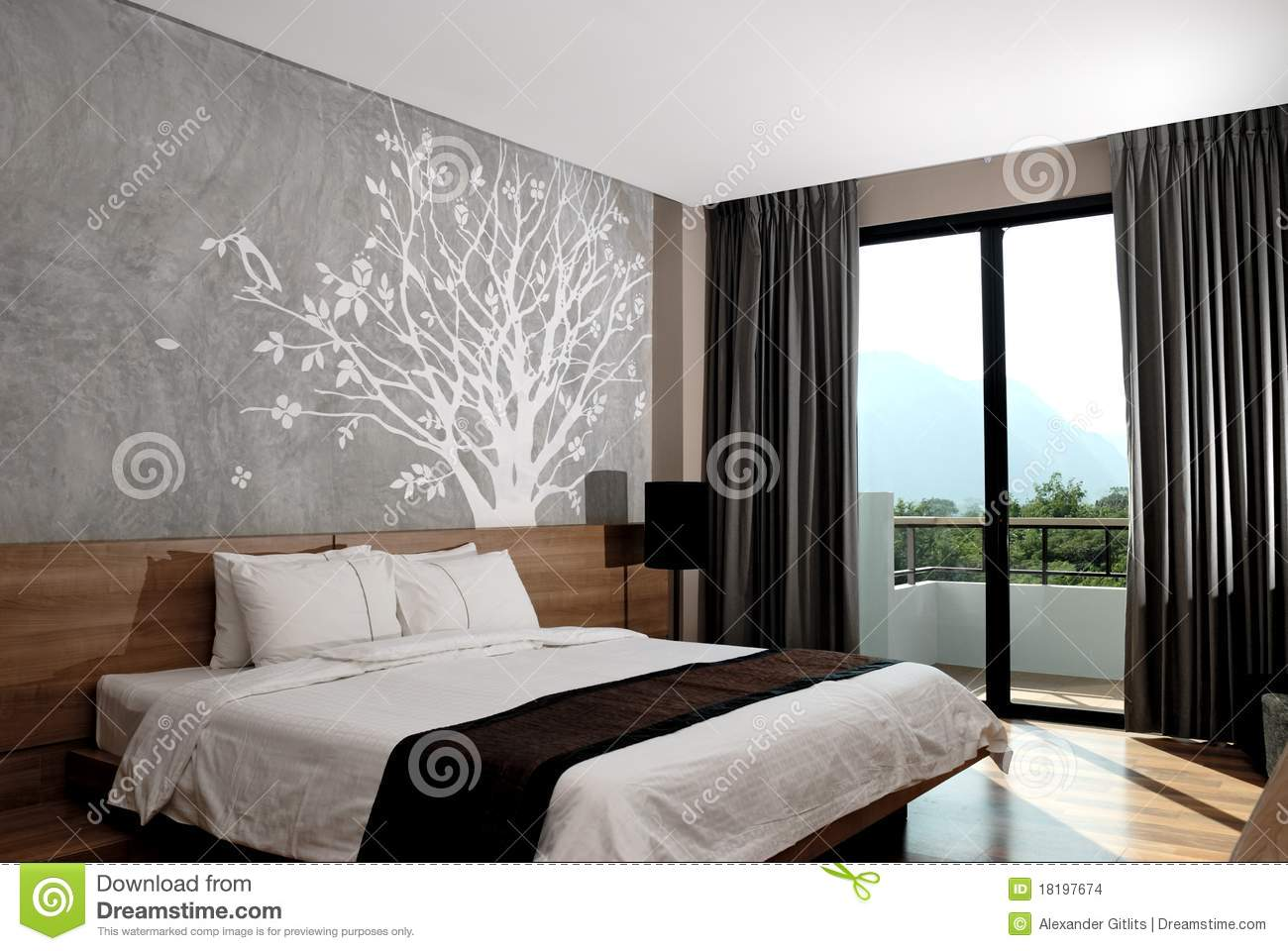 Modern Hotel Room Interior stock photo Image of headboard