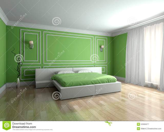 Modern Interior Of A Bedroom 3d Rendering Stock ...