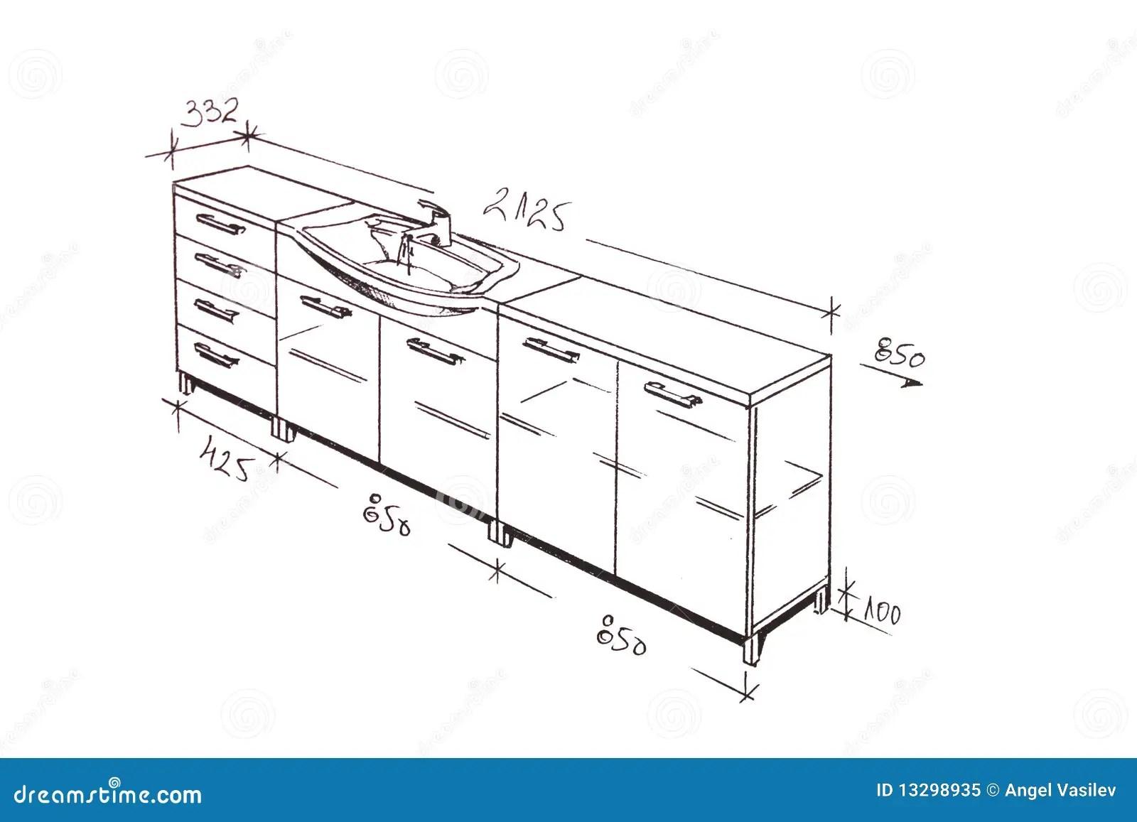 Modern Interior Design Bathroom Freehand Drawing. Stock
