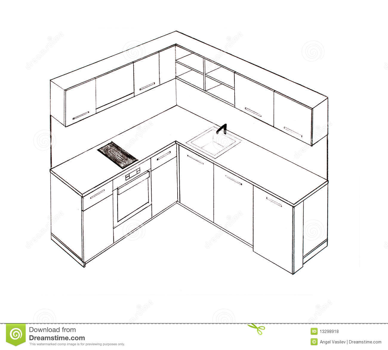 Modern Interior Design Kitchen Freehand Drawing Royalty