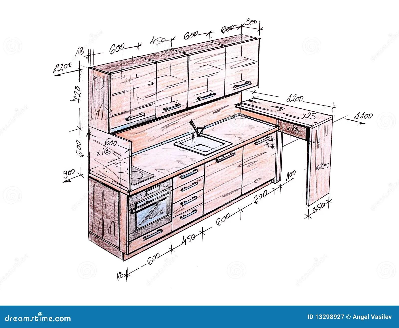 Modern Interior Design Kitchen Freehand Drawing Royalty