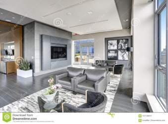 Modern Interior Design Of Living Area In Grey Colors Stock Image Image of american flat: 121156541
