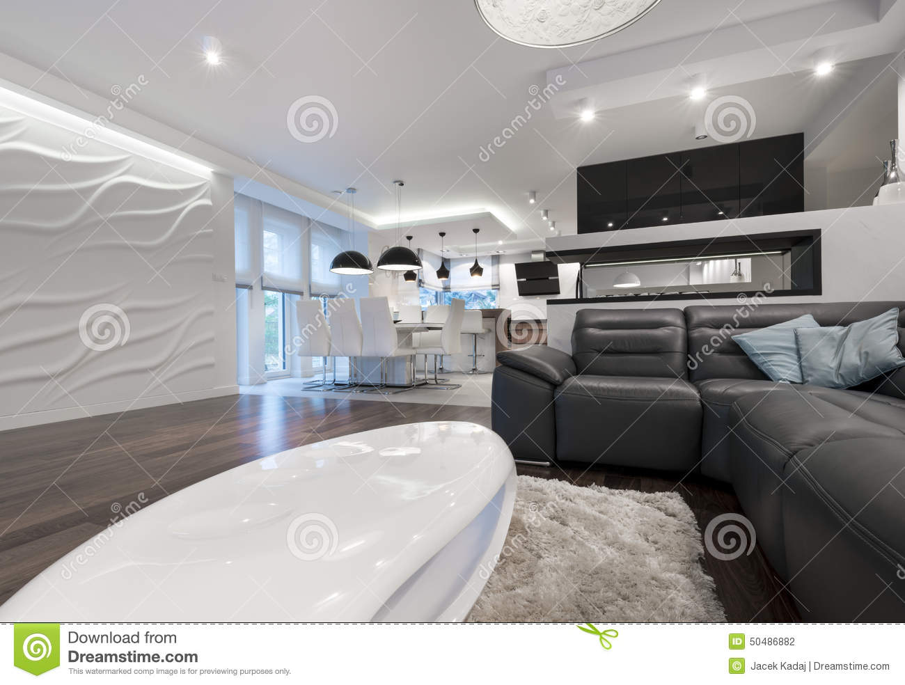 modern interior design living room black and white decorating ideas for blue rooms with kitchen stock photo image in