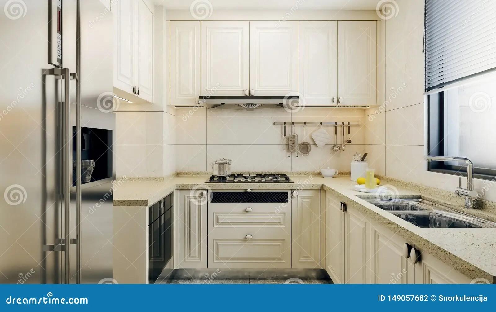 https www dreamstime com modern interior design small kitchen bright colored kitchen elements beige tiles window above sink modern interior image149057682