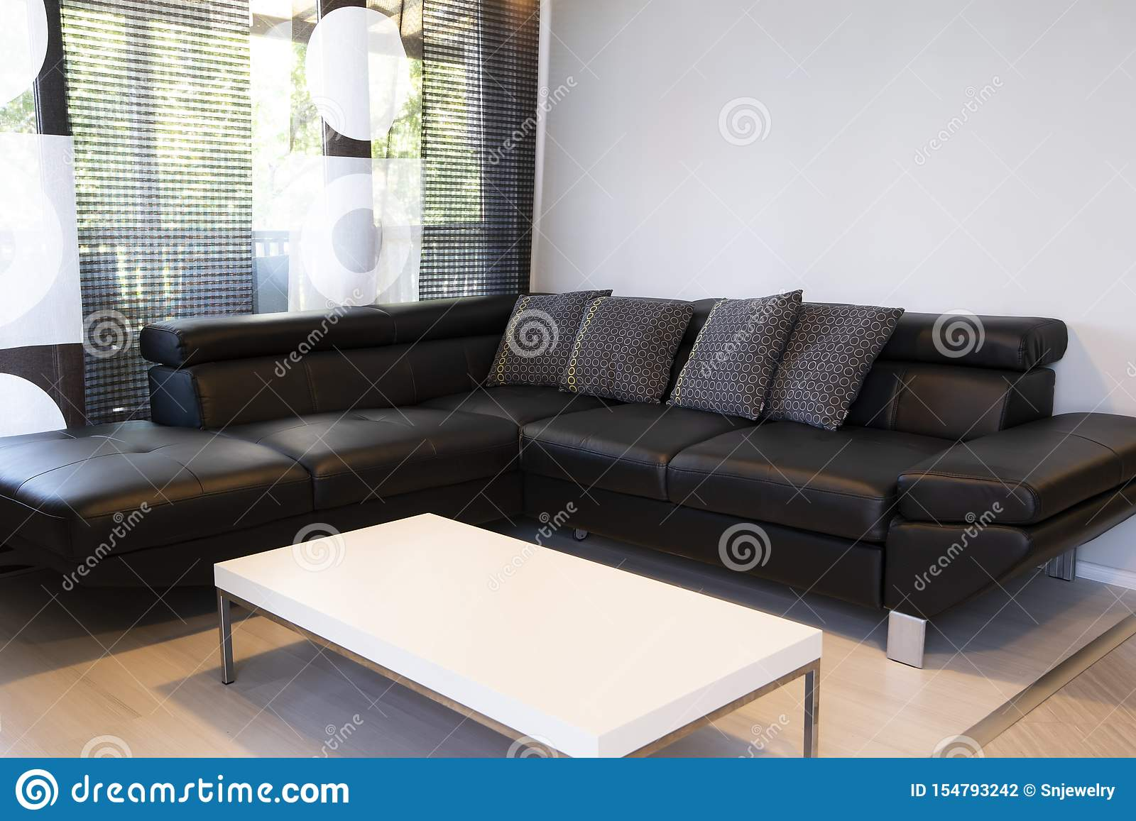 Modern Interior Of Living Room With Comfortable Black Leather Sofa Stock Photo Image Of Background Indoor 154793242