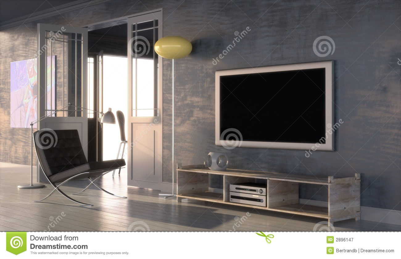 metal and wood chairs ikea tullsta chair cover modern interior with plasma tv royalty free stock photography - image: 2896147
