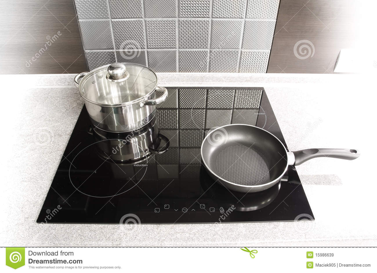 Modern Kitchen Appliances Pot And Pan On A Cooker Royalty Free Stock Images Image 15986639