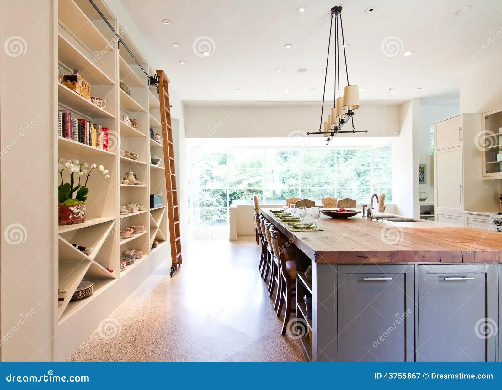 kitchen island butcher block vinyl floor tiles modern top stock image of
