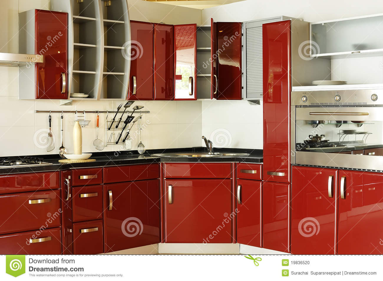 Modern Kitchen Cabinet Door A Deep Red 02 Stock Photo Image Of