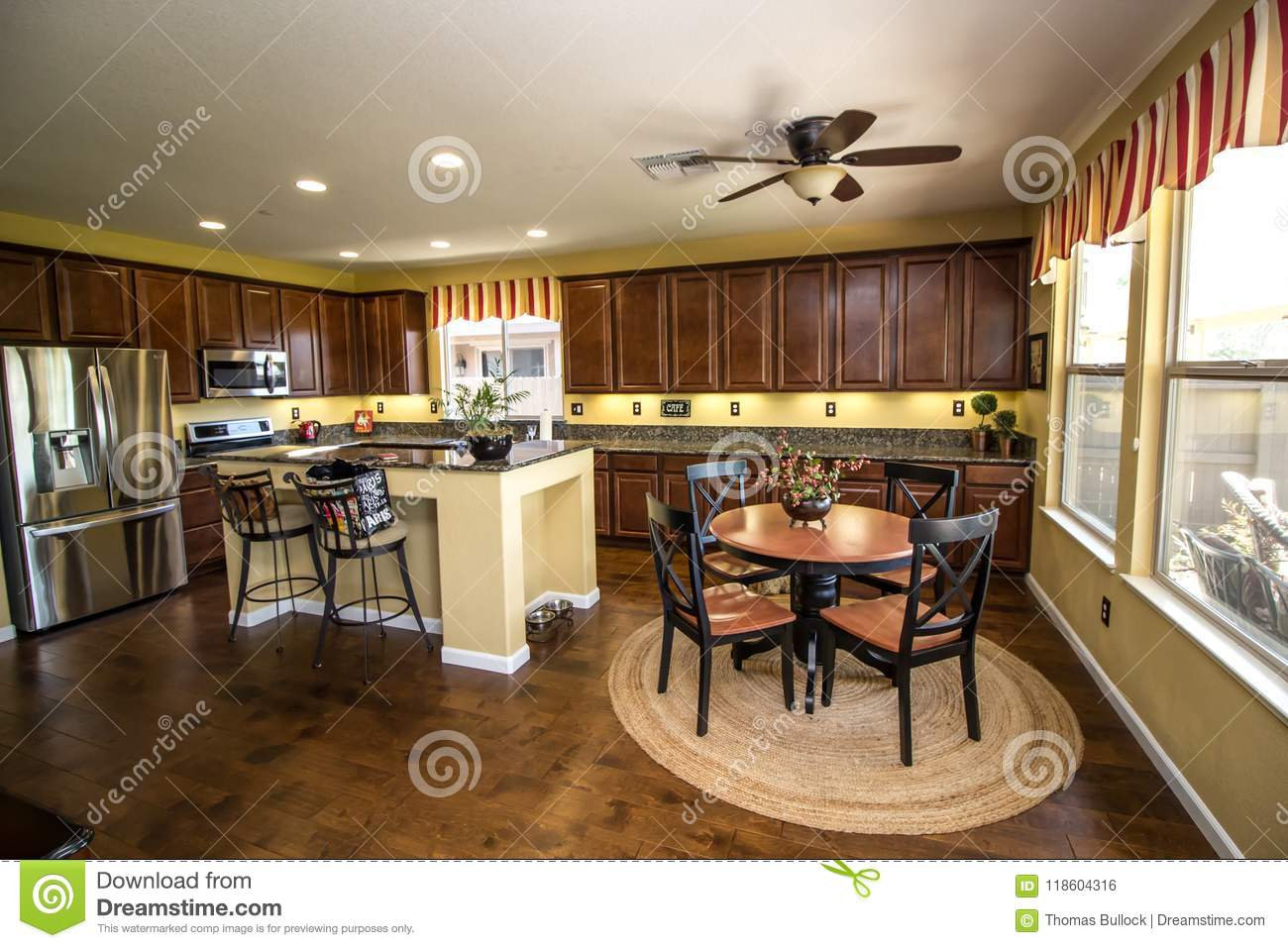 Modern Kitchen Chairs Modern Kitchen With Eating Area Stock Photo Image Of Door