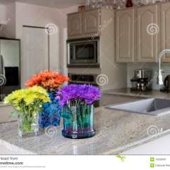 Kitchen Sink Faucet Makeover Contest Modern With Flowers On Counter Stock Image - ...
