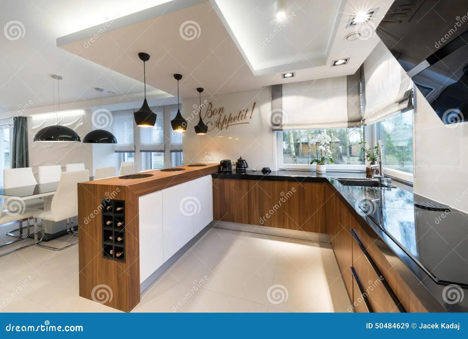 Modern Kitchen Interior Design Stock Image Image Of Furniture Mansion 50484629