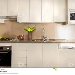 Kitchen Pantry Cupboard Large Rugs Modern With Cupboards And Counter Top Stock Photo