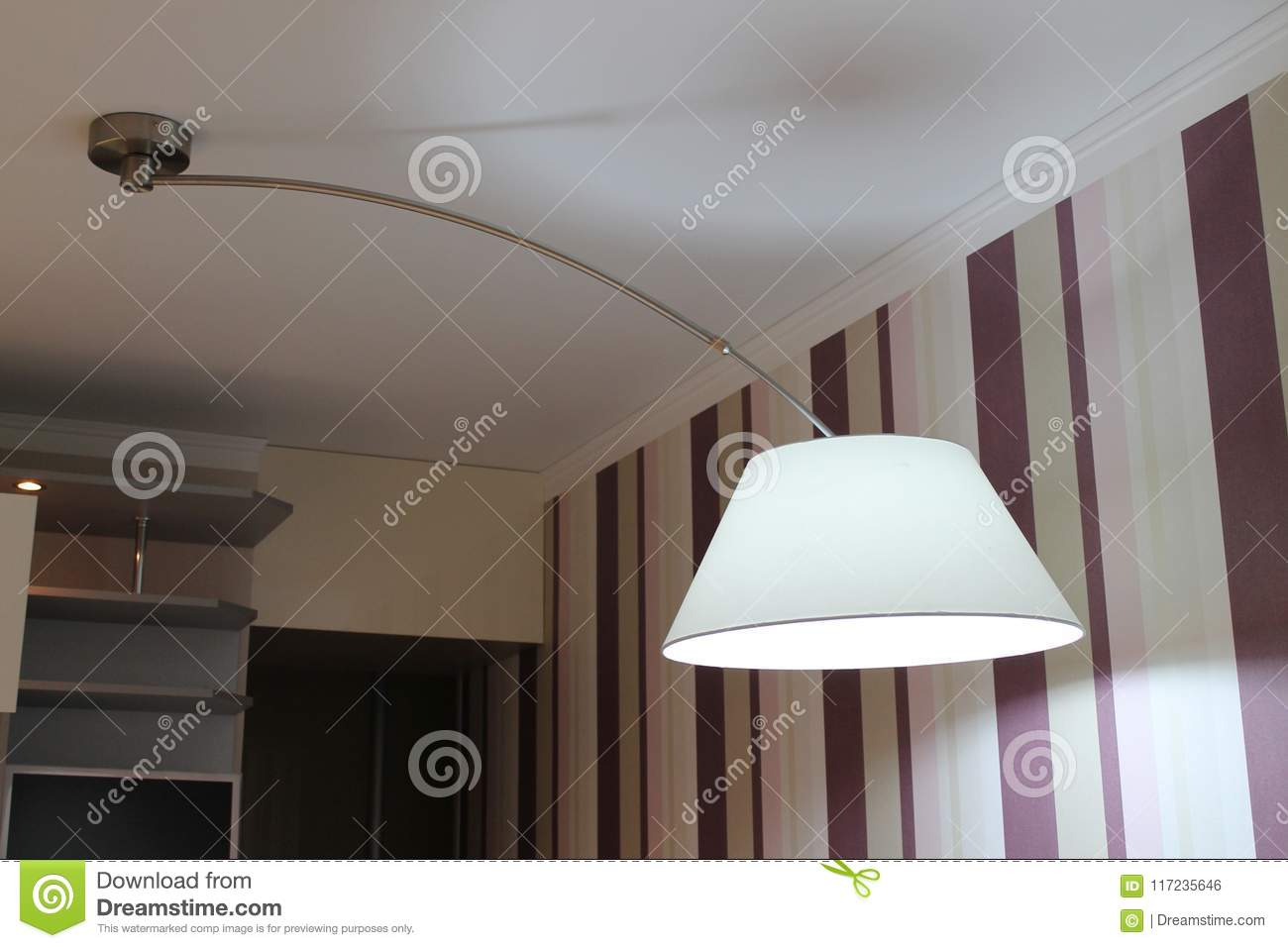 https www dreamstime com modern large lamp hanging over dining table kitchen large beautiful lamp hangs stretch ceiling image117235646