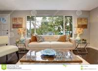 Modern Living Room With Dark Hardwood Floor. Stock Image