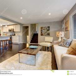 Living Rooms With Dark Wood Floors Room Sofa Chairs Modern Hardwood Floor Stock Image Of And A White Fluffy Rug
