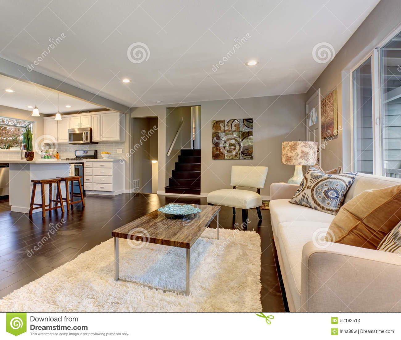 modern living room with dark wood floors decorating ideas cream walls hardwood floor stock image of and a white fluffy rug