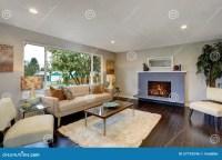 Modern Living Room With Dark Hardwood Floor. Stock Photo ...
