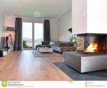 Modern Living Room With Fire Place Stock