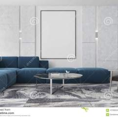Blue Modern Living Room Wall Mounted Lights Marble And Brown Poster Sofa Stock Illustration Interior With A Gray Floor White Walls Armchair Near Vertical Round Coffee Table