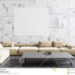 Marble Living Room Furniture Floor Lamp White Beige Sofa Poster Stock Illustration Modern Interior With Walls A Concrete And Hanging Above It 3d Rendering Mock Up