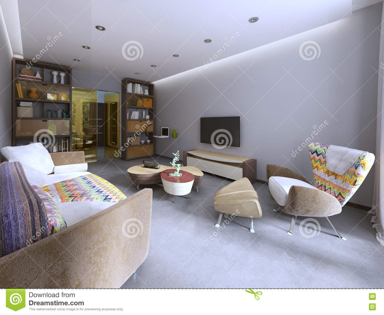 kitschy living room decorating with black leather furniture modern in kitsch style stock illustration tv unit bookcase and work space 3d render