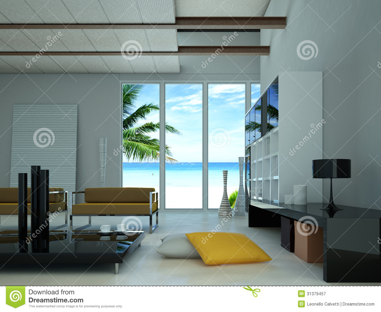 Modern Livingroom With A Large Window Showing A Beach
