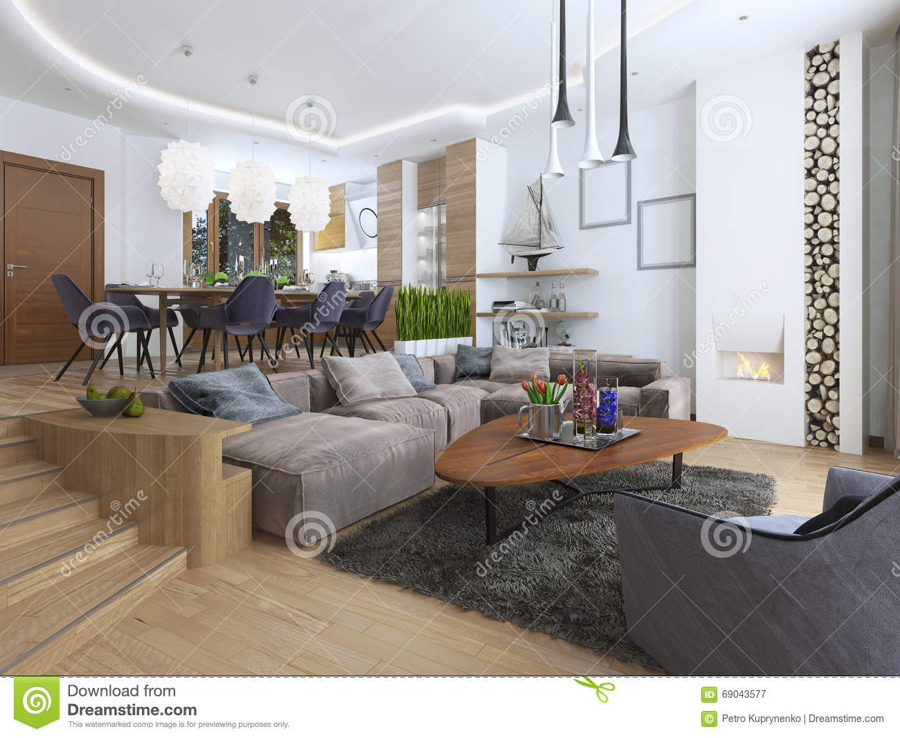 large corner sofa in small living room for philippines modern a loft style stock image of blending smoothly into the kitchen dining shelves with decorations soft chair floor