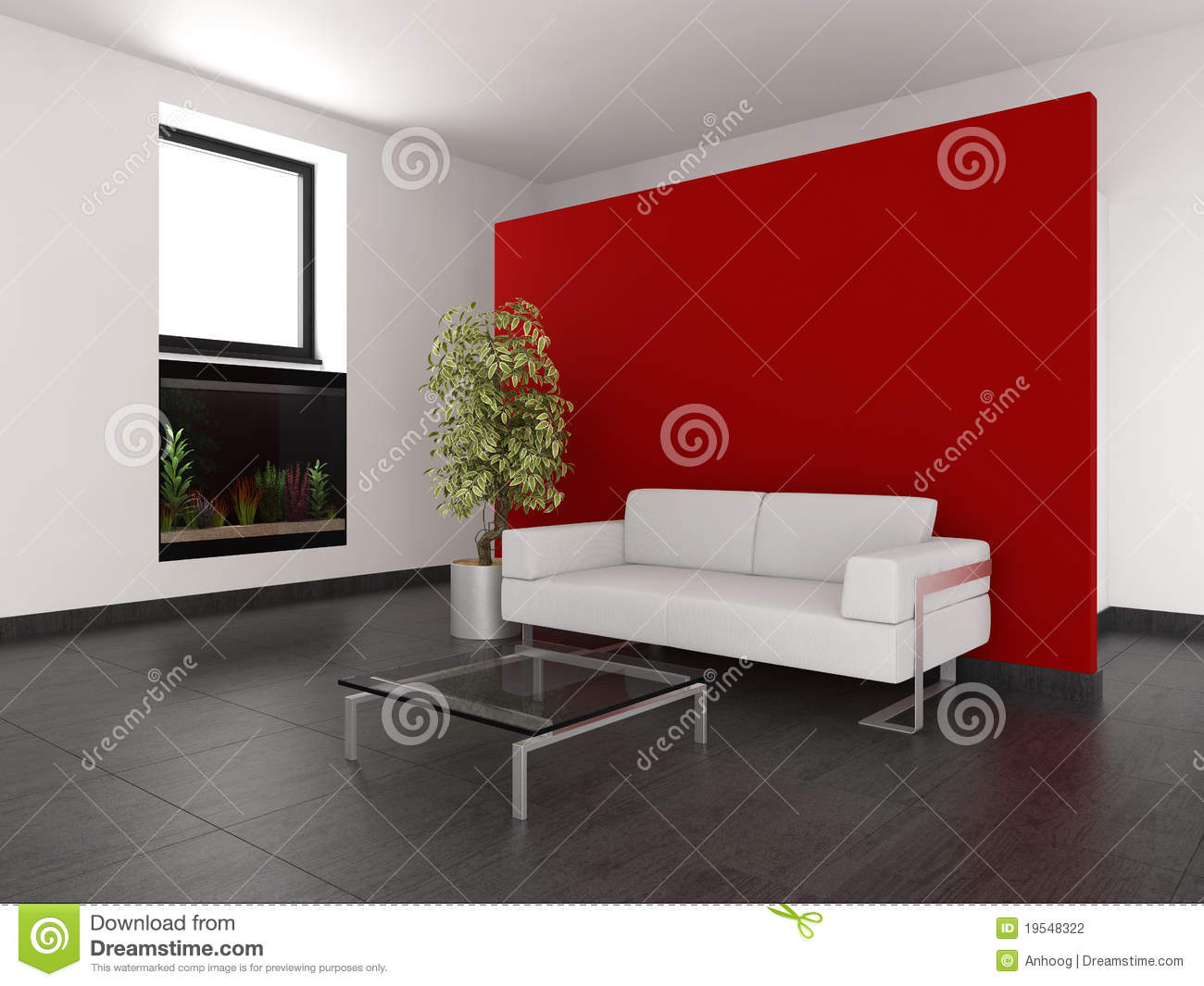 Modern Living Room With Red Wall And Aquarium Stock
