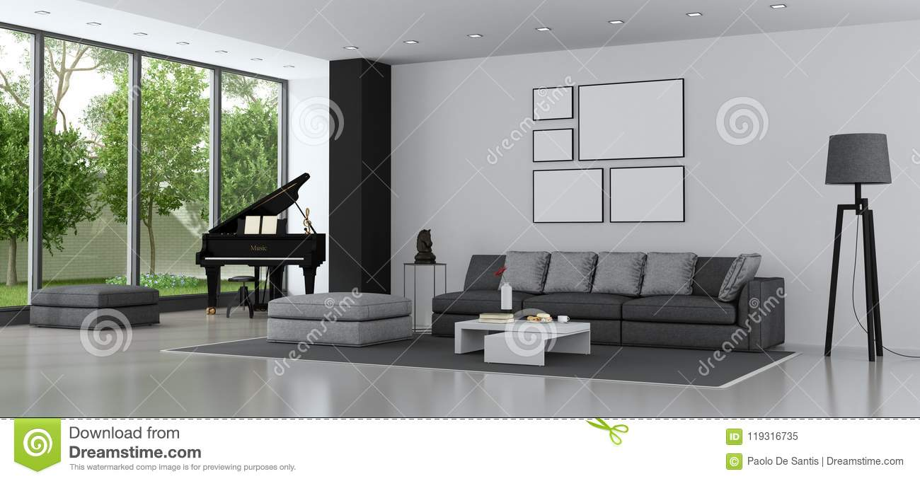 modern living room couches home ceiling designs with sofa and grand piano stock illustration of a villa 3d rendering