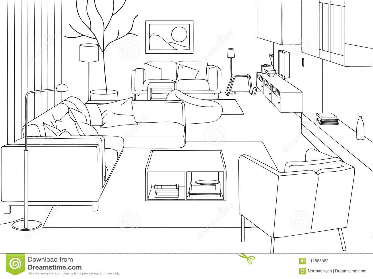 Modern Living Room Vector Line Art Illustration Stock