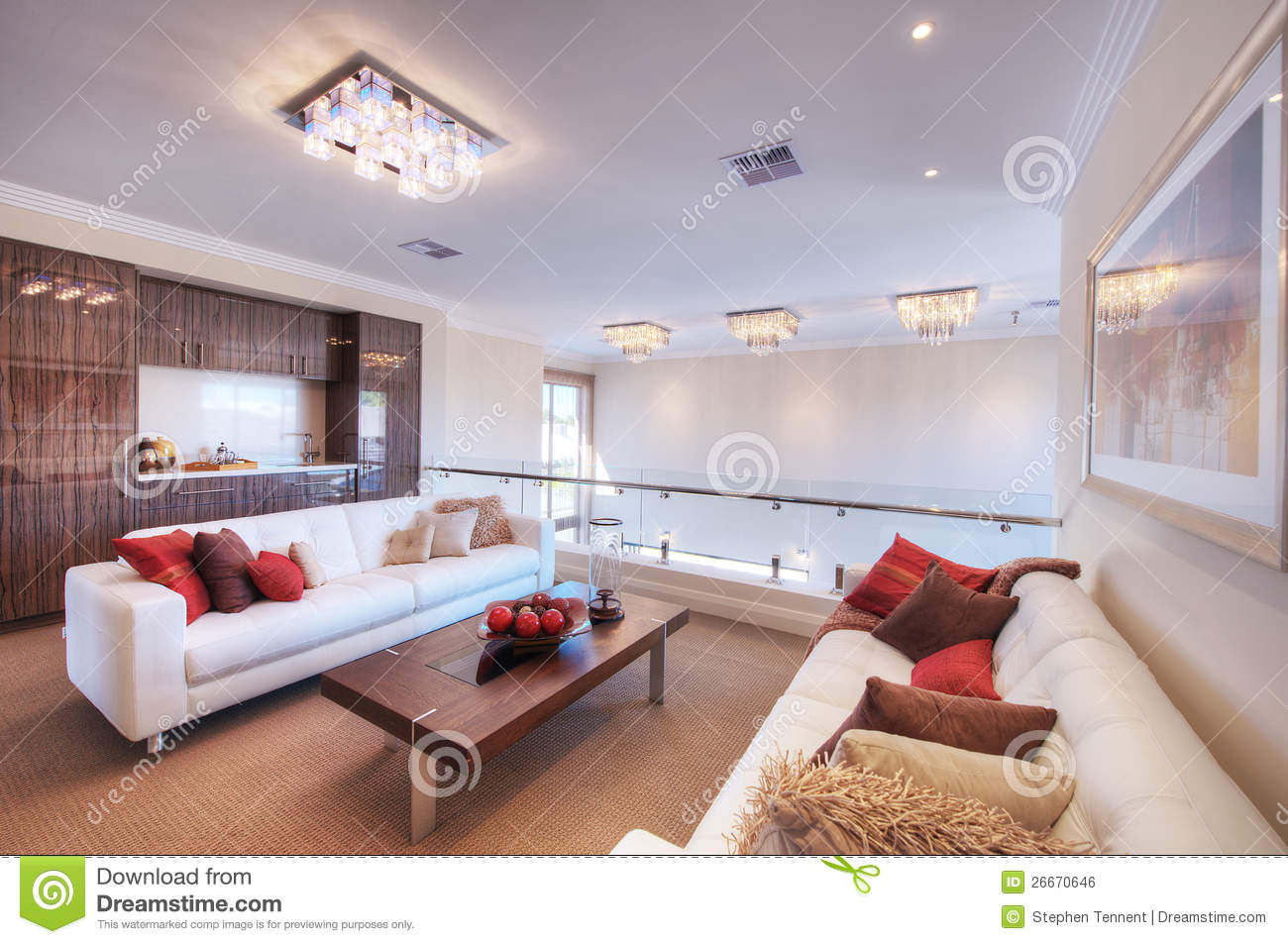 Modern Living Room With White Sofa Stock Photo  Image