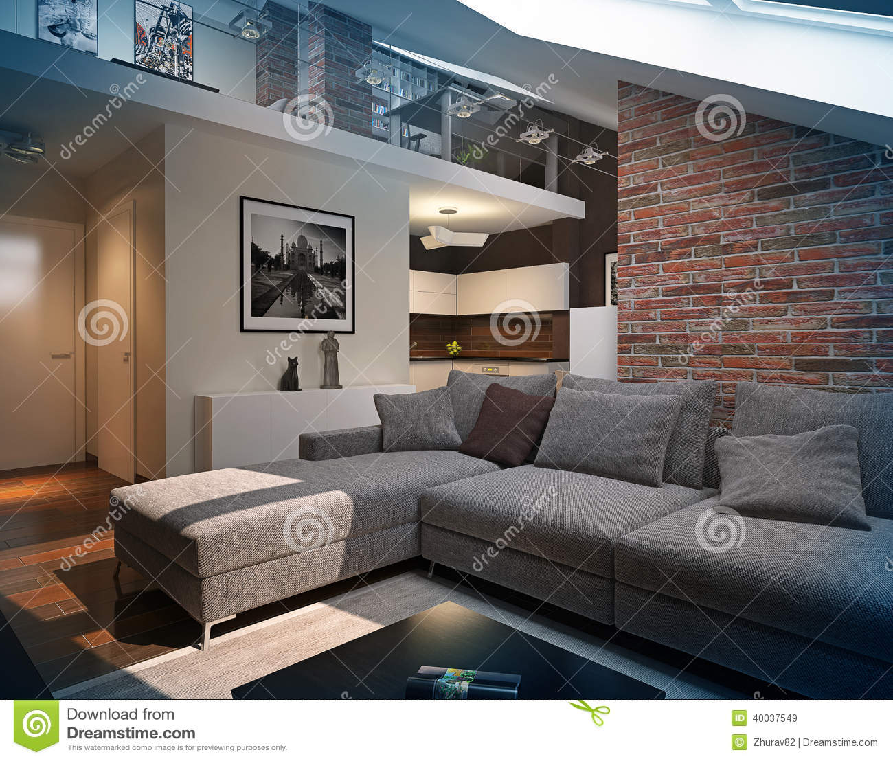 curtains for living room with grey sofa statues modern loft interior. stock illustration ...