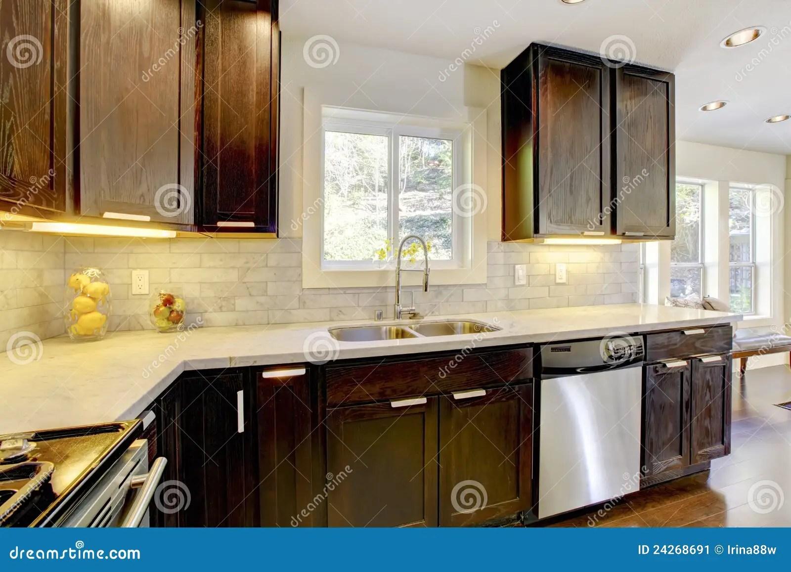 Modern Luxury New Dark Brown And White Kitchen Stock