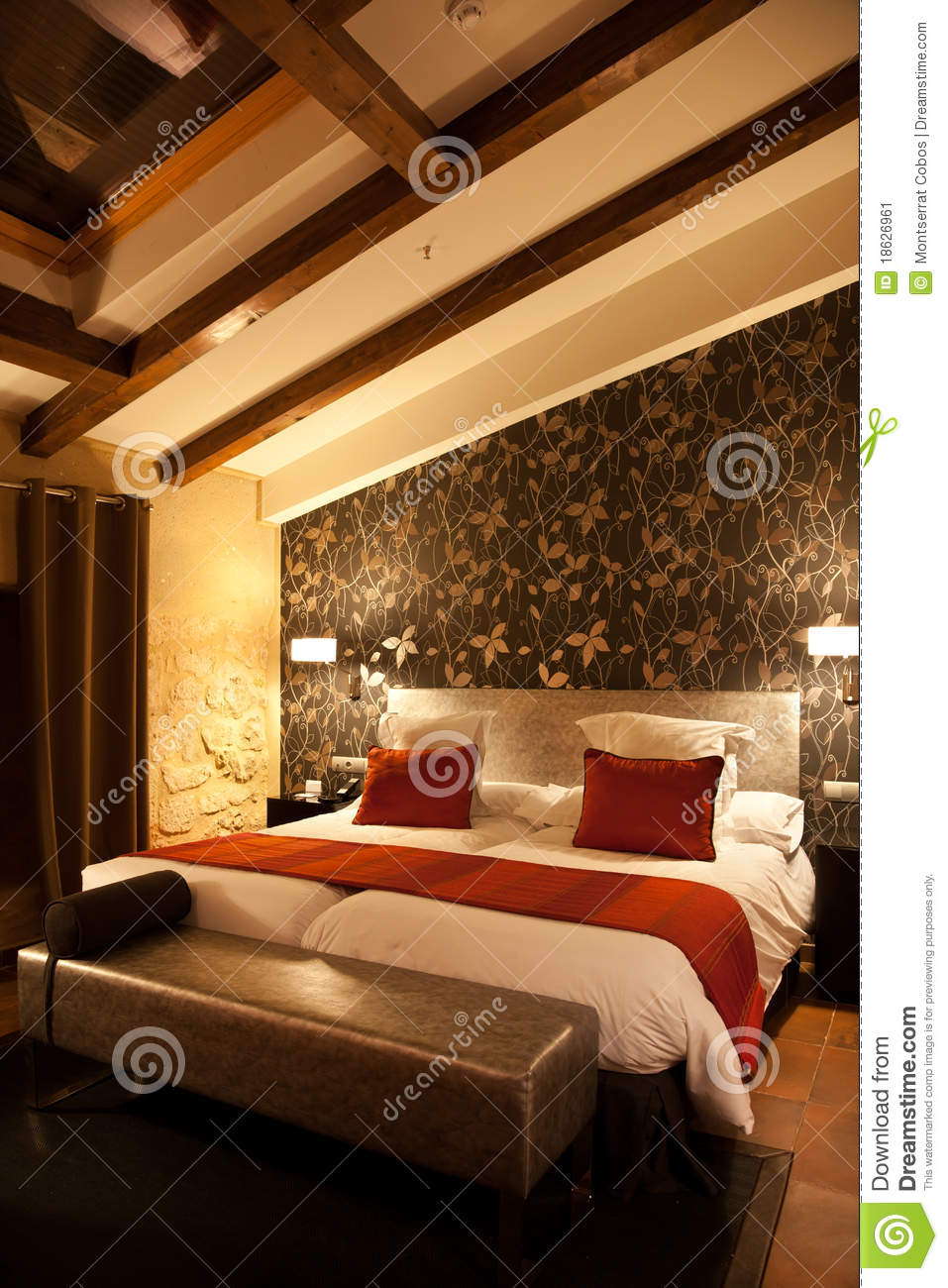 Modern mansard bedroom stock image Image of attic