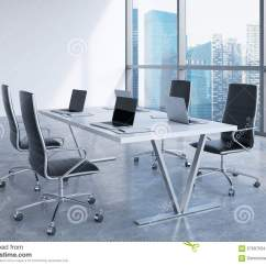 Black Leather Desk Chairs Target Chair Cushions Modern Meeting Room With Huge Windows Looking At Singapore Business City. ...