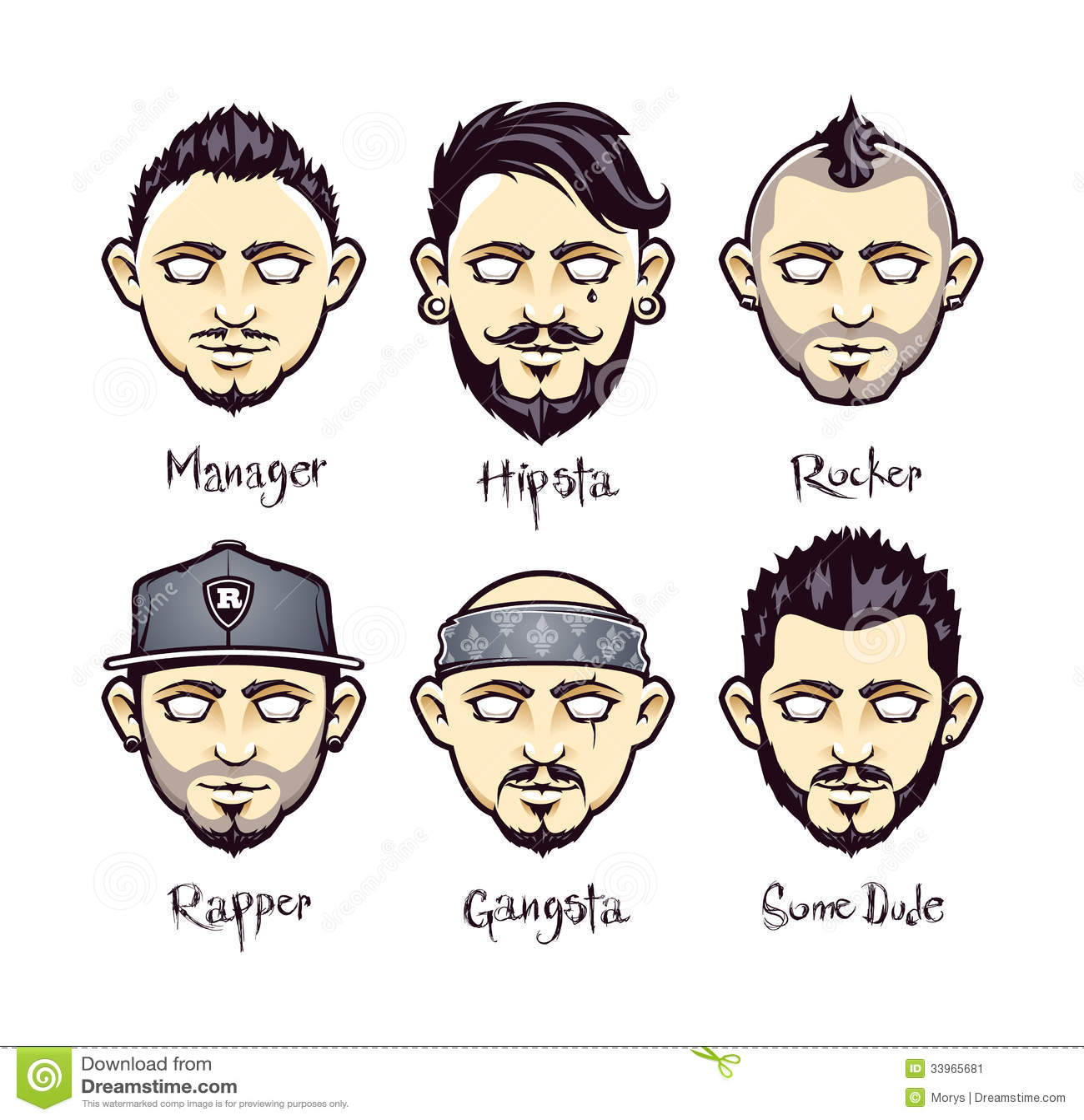 Modern Mens Hairstyles Stock Vector Illustration Of Hair 33965681