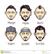 modern mens hairstyles stock vector