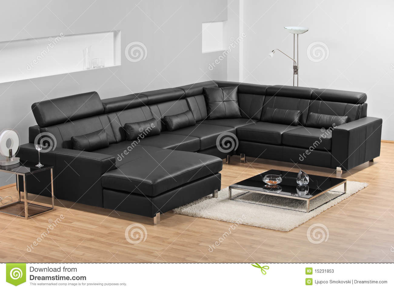 A Modern Minimalist Living Room With Leather Sofa Stock