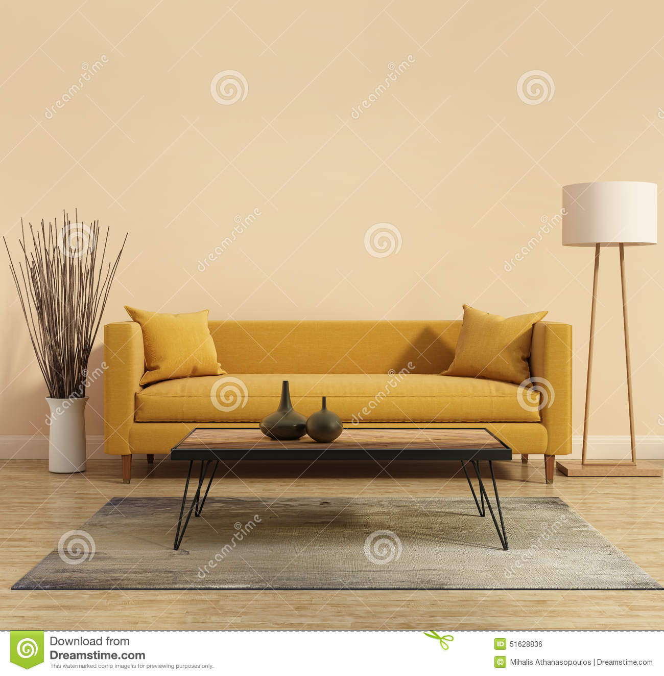 yellow sofa table leather restoration sheffield modern interior with a in the living