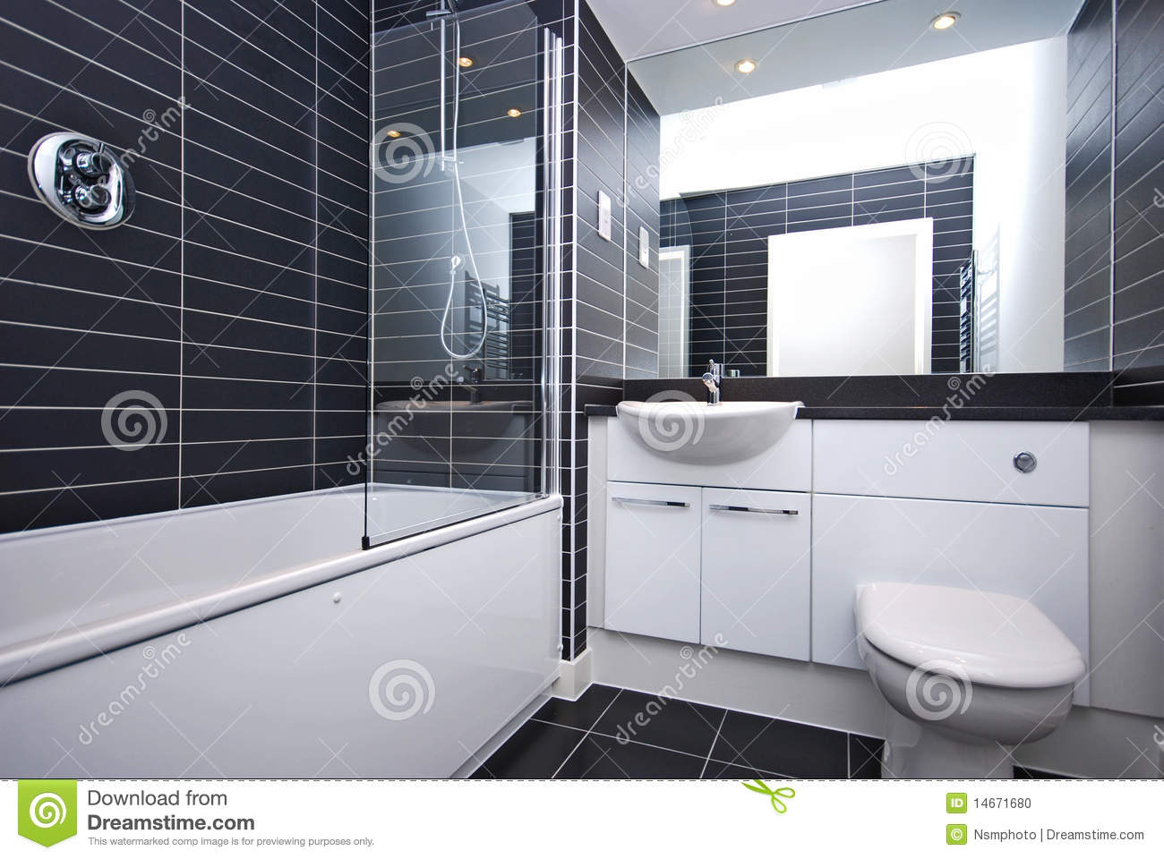 Modern New Bathroom In Black And White Stock Photo  Image