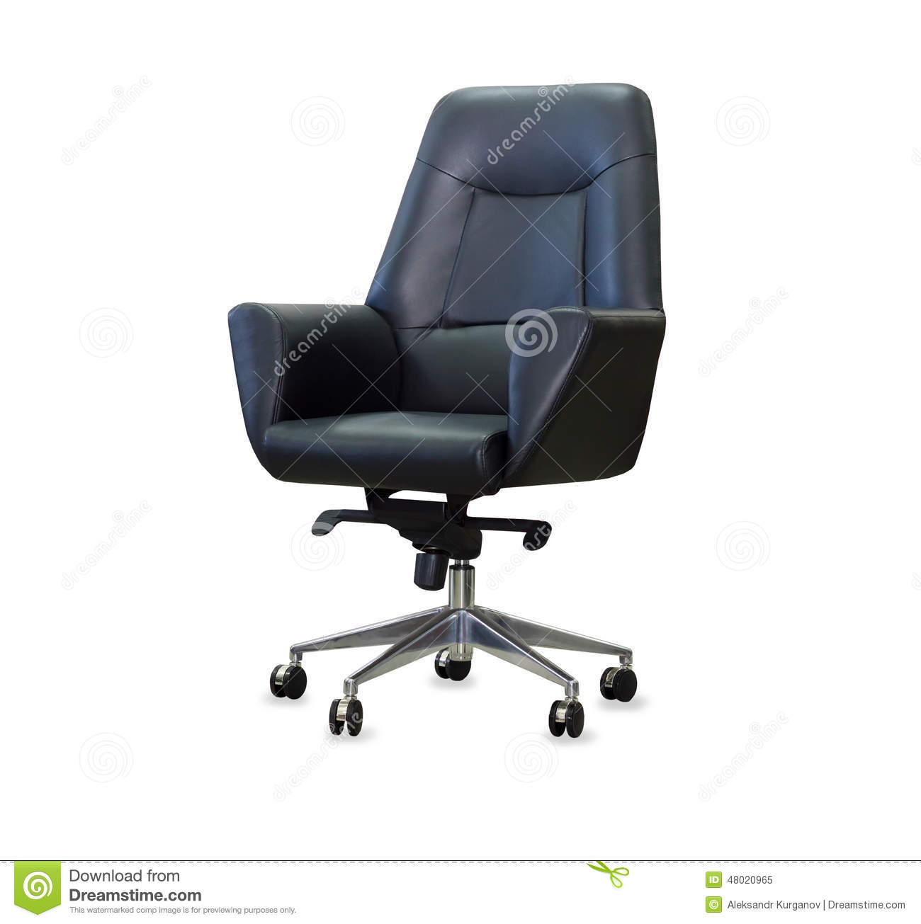 white leather modern office chair covers vaughan from black isolated stock
