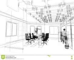 The modern office sketch stock photo. Image of interior ...
