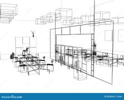 The modern office sketch stock illustration. Illustration ...