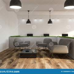 Grey Modern Armchairs Dining Room Table With 6 Chairs Office Waiting Sofa Stock Illustration Interior White Walls A Wooden Floor And Gray Near Coffee 3d Rendering Mock Up