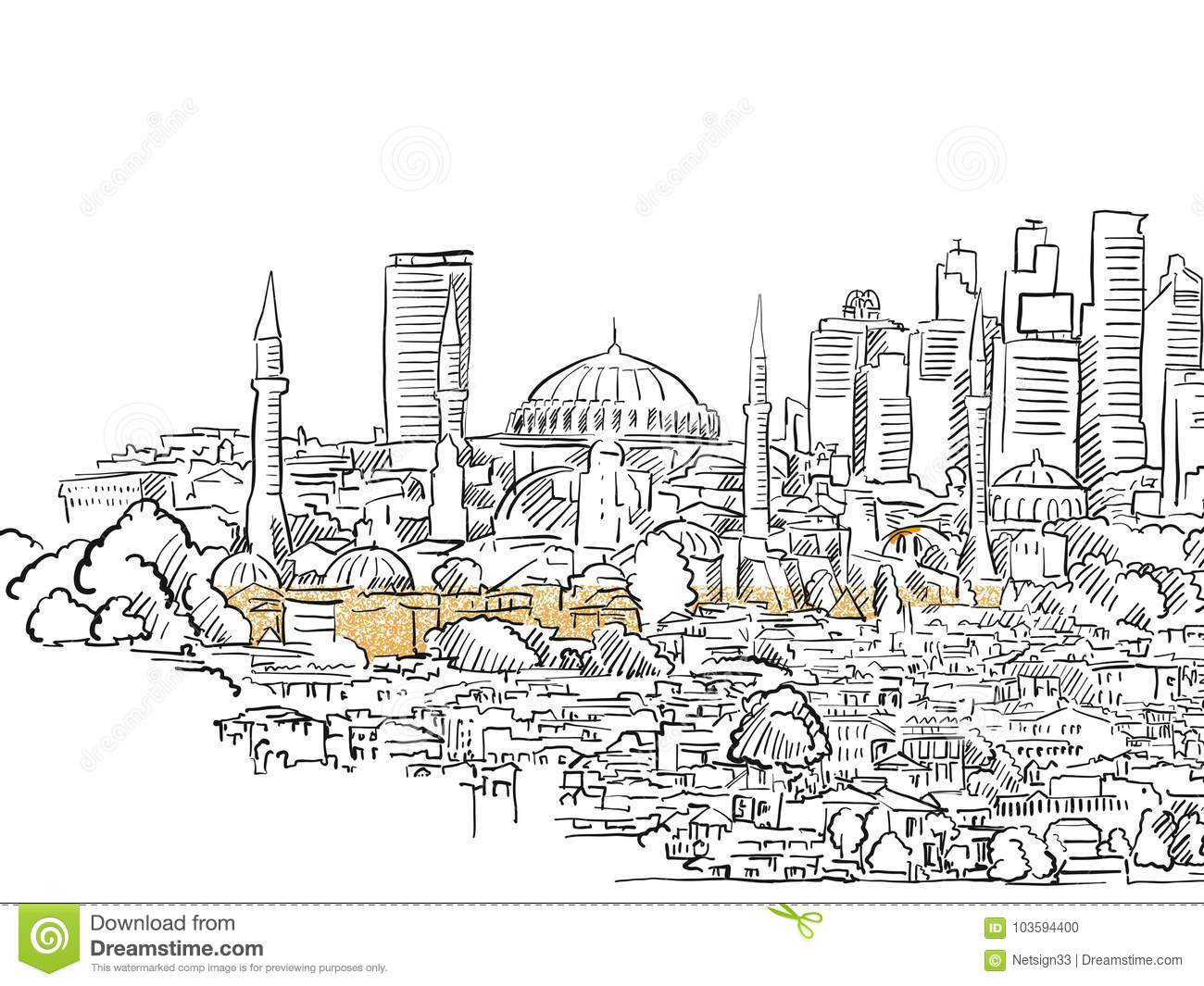 Modern And Old Istanbul Panorama Drawing Stock Vector