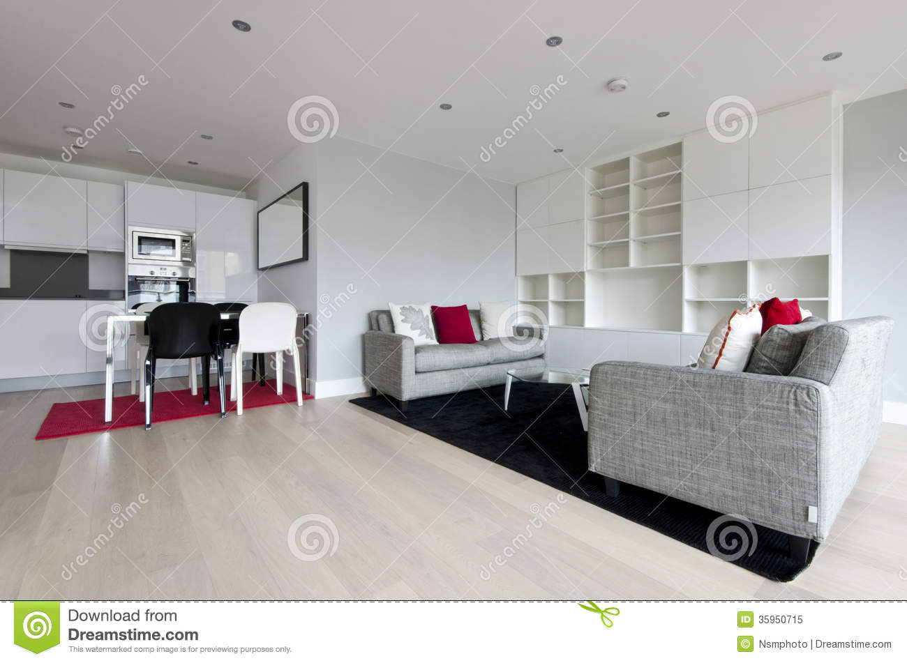 Modern Open Plan Living Area With Fully Fitted Kitchen Stock